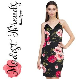 Modist Threads Dresses - Black Floral Mini Dress